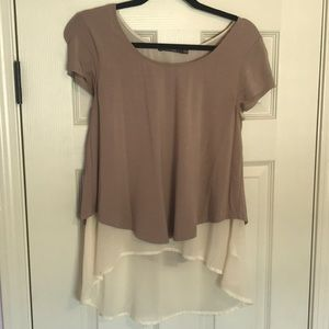 Dusty tee with chiffon under layer